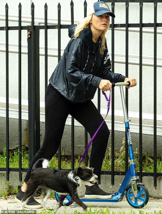 Malin Akerman hops on a scooter to get some fresh air as